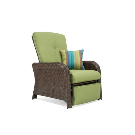 recliner chair cushions outdoor la z boy sawyer wicker outdoor recliner with sunbrella spectrum cilantro cushion hsaw rc the