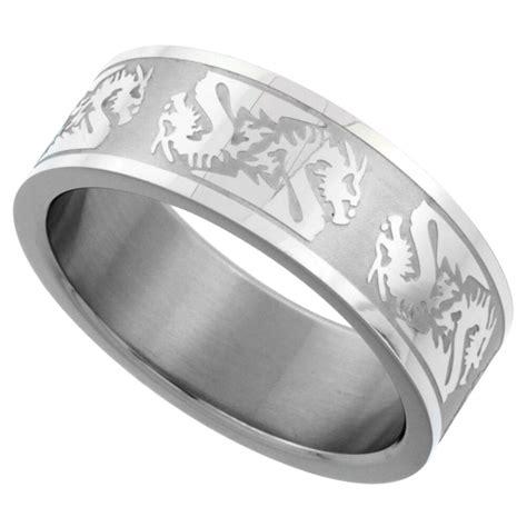 8mm stainless steel dragon pattern design wedding band