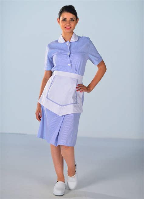 uniforme femme de chambre hotel blouse femme de chambre à manches courtes bleu ciel carlton