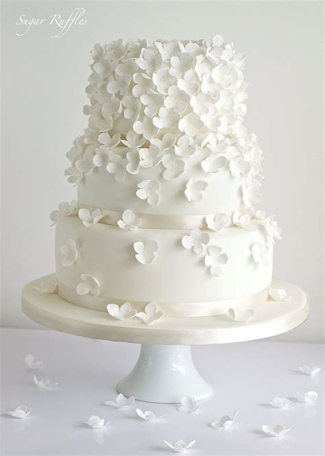 All White Simple Wedding Cake From Sugar Ruffles Deer