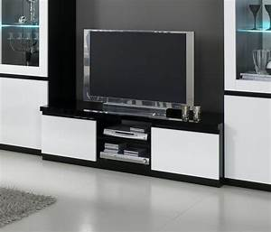 meuble tv design laque blanc noir krista meuble tv laque With meuble noir et blanc