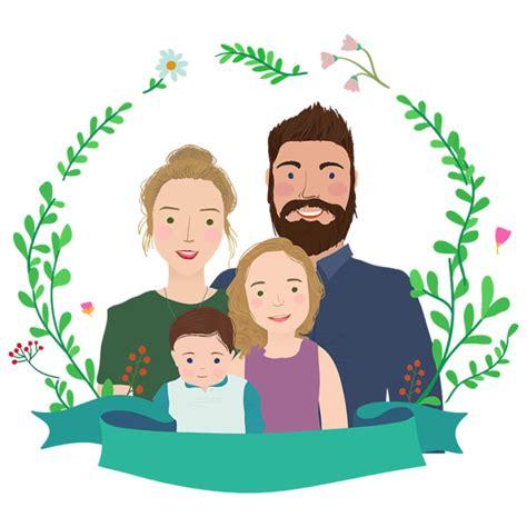 draw cartoon family portrait  unicorntail