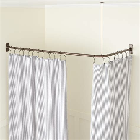 curtain rod corner solid brass commercial grade shower curtain rod