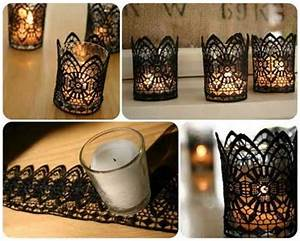 Creative diy home decor crafts with glass and black lace ...