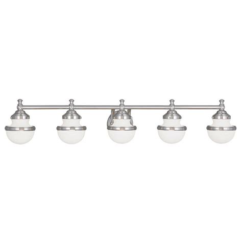 Brushed Nickel Bathroom Light Fixtures by 5 Light Livex Oldwick Modern Brushed Nickel Bathroom