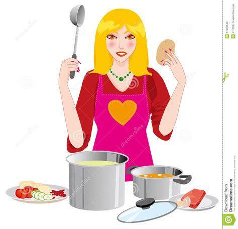 le journal de la femme cuisine le femme dans la cuisine images libres de droits image 17036149