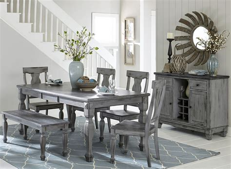 fulbright gray rub  extendable dining room set