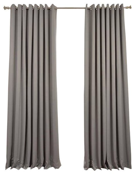 neutral gray grommet doublewide blackout curtain single