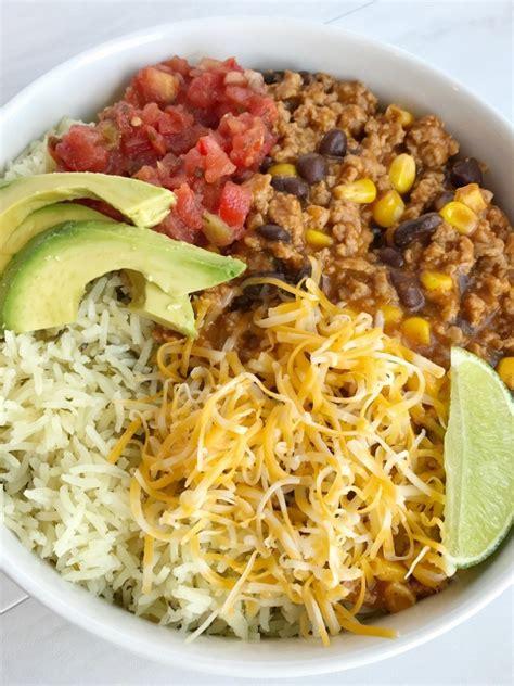turkey taco burrito bowls   family