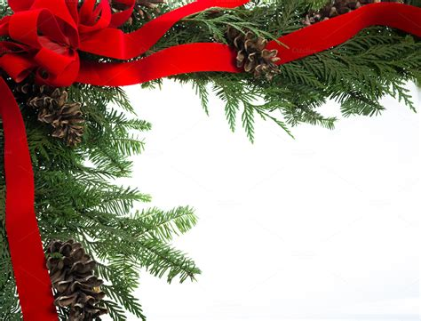 decorative border  red ribbon holiday