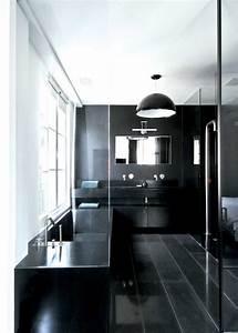 Salle De Bain Noire Et Blanche : salle de bain design noir et gris ~ Melissatoandfro.com Idées de Décoration