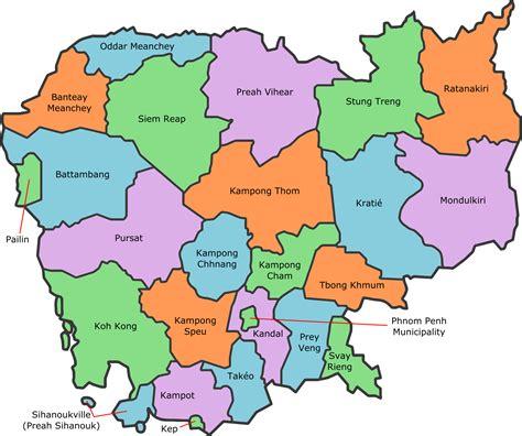 cambodia   map  asia