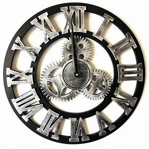 Horloge Murale Chiffre Romain : horloge murale argent style vintage avec chiffres romains ~ Teatrodelosmanantiales.com Idées de Décoration