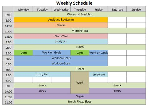 schedules template in excel 9 weekly schedule templates excel templates