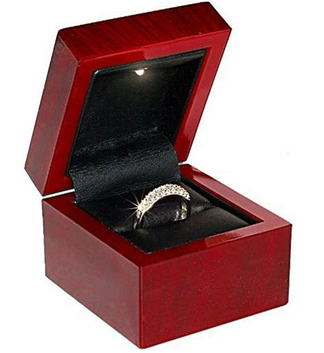 Ring Box With Light by New 1 Cherry Rosewood Faux Wood Ring Jewelry Gift Box With