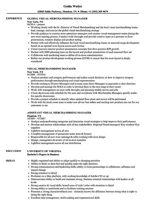 visual merchandising manager resume sles velvet