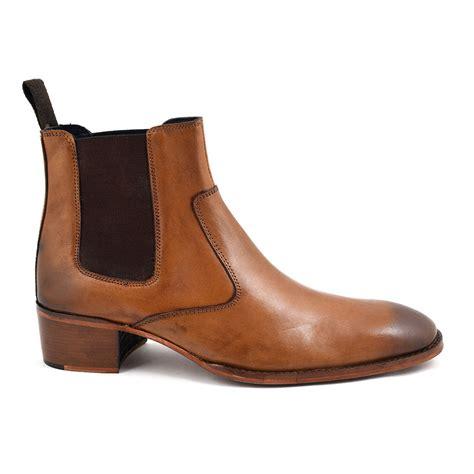 Shop Mens Tan Cuban Heel Chelsea Boot   Gucinari