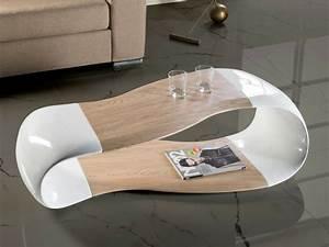 Table Basse Blanc Laqué Et Bois : table en verre design pour un espace de vie chic et moderne ~ Teatrodelosmanantiales.com Idées de Décoration