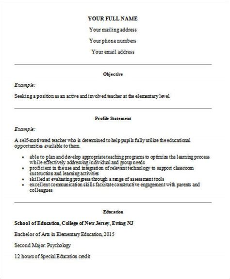 Looking for sample resume for teachers without experience word format? 35+ Printable Teacher Resume Templates | Free & Premium ...
