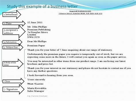 business letter format  subject  examples  forms