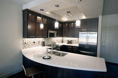 urban townhome kitchen  espresso cabinets  white