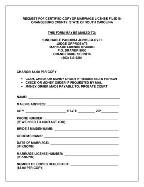 south carolina marriage license form fillable online orangeburgcounty marriage license request
