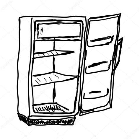 open fridge clipart black and white empty refrigerator www imgkid the image