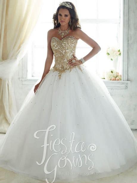 quinceanera white  gold dresses