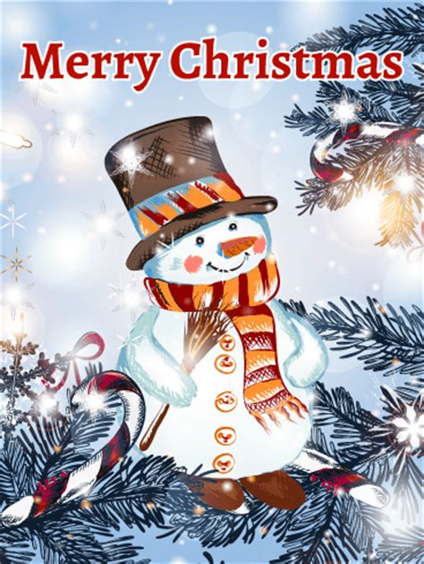 classic shinning snowman christmas card birthday