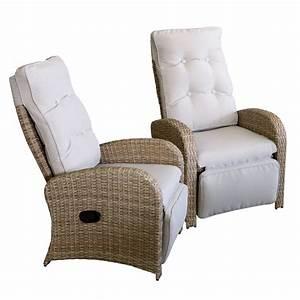 2x wohaga polyrattan sessel mit fussteil naturfarben for Französischer balkon mit garten relaxsessel mit verstellbarem fußteil