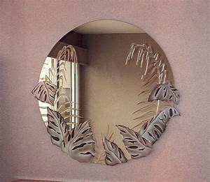 Tropical peak decorative mirror with etched carved design for Tropical bathroom mirrors