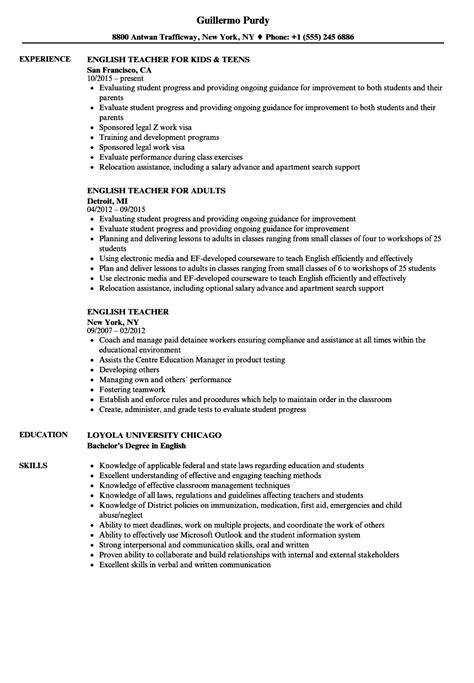 english teacher resume samples velvet jobs