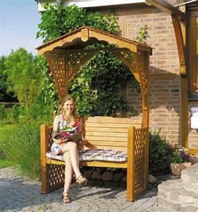 Pergola Mit Bank : gartenbank romantik holzbank f r 2 mit dach pergola rankgitter alpenfeeling vom garten fachh ndler ~ Markanthonyermac.com Haus und Dekorationen