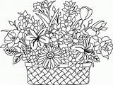 Coloring Bouquet Basket Printable Drawing Drawings Baskets Pdf Embroidery sketch template
