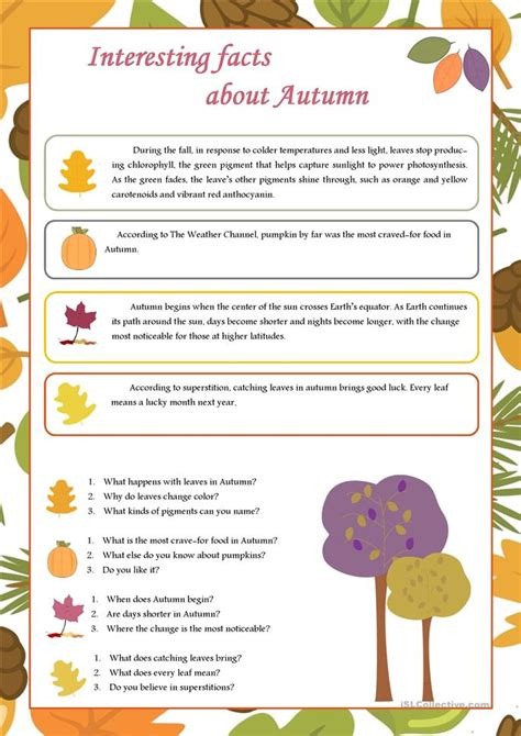 interesting facts about autumn worksheet free esl