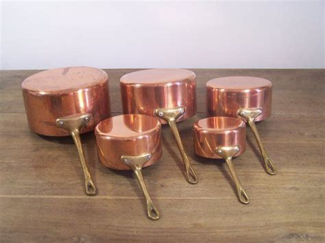 set lot   vintage french copper pots pans cookware copper cooking pan copper pots cooking
