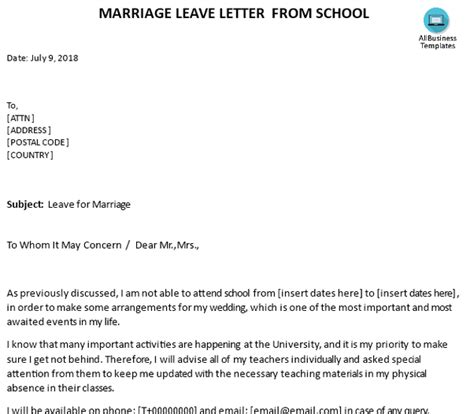 letter leave  absence wedding marriage leave