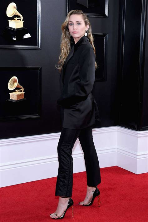 miley cyrus attends  st annual grammy awards
