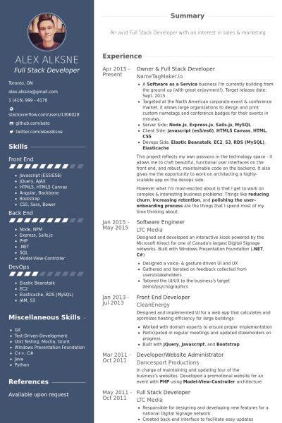 owner full stack developer resume  resume web