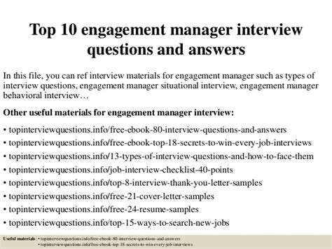 Questions For Production Manager And Answers by Top 10 Engagement Manager Questions And Answers