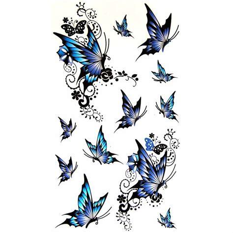 planche complete de tatouage temporaire papillon bleu