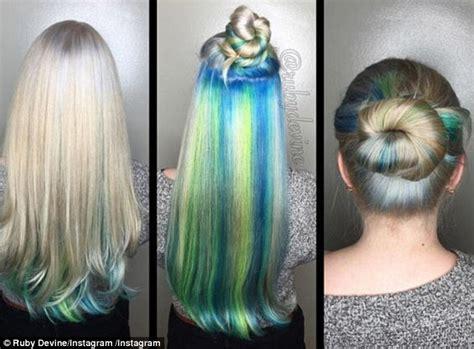 Women Show Off Their Hidden 'secret Rainbow' Hair Colour