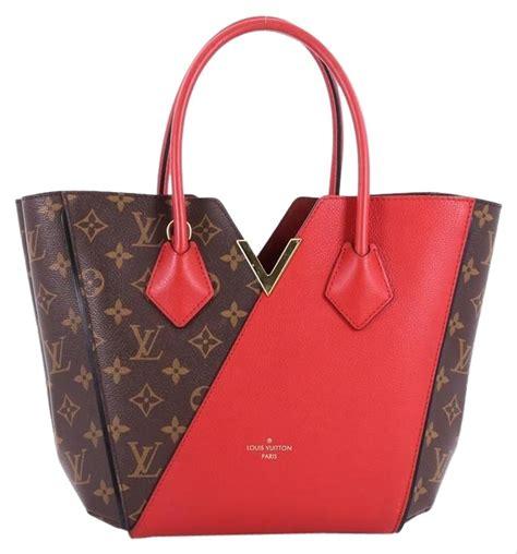 louis vuitton kimono handbag monogram pm brown  red canvas leather tote tradesy
