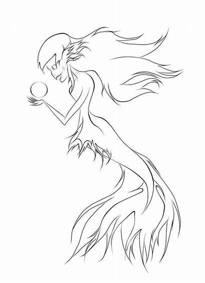 Mermaid Evil Pages Coloring Mermaids Tattoo Template