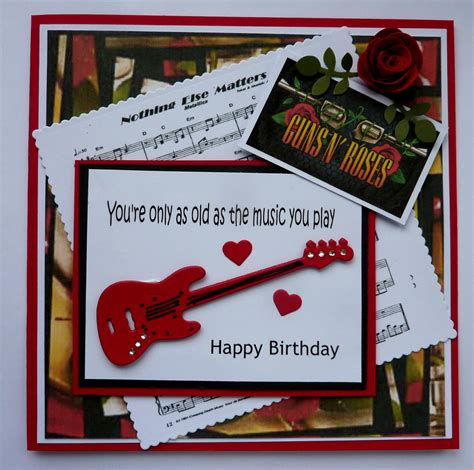 hand  birthday card  guitar  rose dies