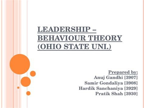 ohio state leadership behaviour theory