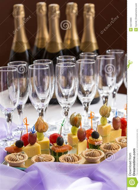 catering serving buffet  canape  champagne stock