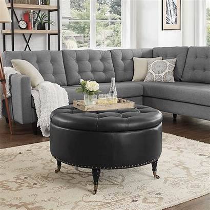 Ottoman Round Leather Tufted Casters Ottomans Nailhead