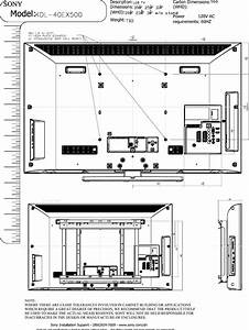 Sony Kdl 40ex500 Layout1 User Manual Dimensions Diagram