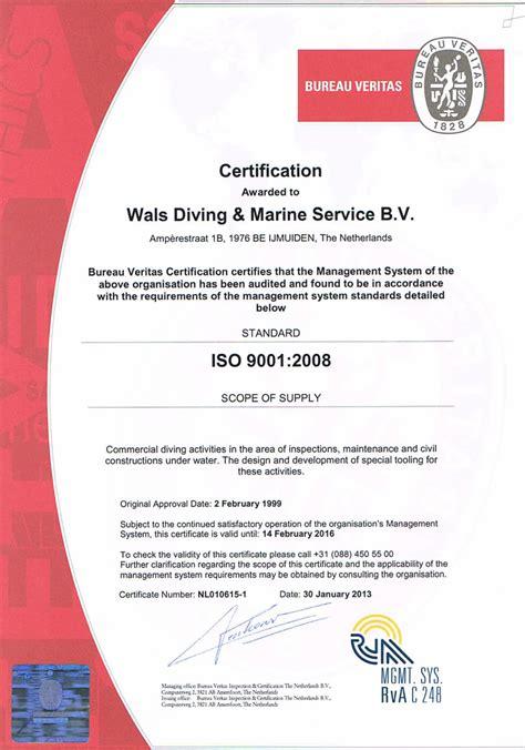 bureau veritas nederland qhse diving company wals diving marine service bv
